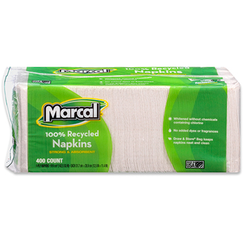 100% Recycled Luncheon Napkins, White, 1-Ply, 12 1/2 x 11 1/4, 2400/CT