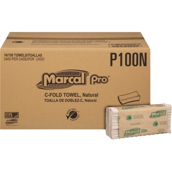 """100% Recycled Center-Fold Paper Towel, Natural, 1-Ply, 10 1/4"""" x 12 4/5"""", 150/PK, 16 Packs/CT"""