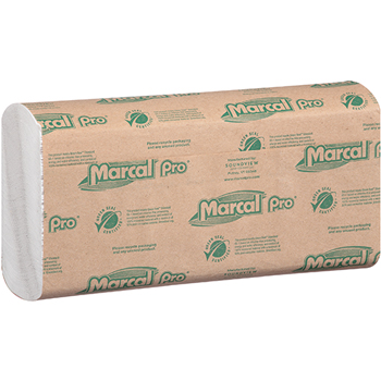 100% Recycled Multi-Fold Paper Towel, White, 1-Ply, 9 1/10 x 9 1/2, 250/PK, 16 Packs/CT