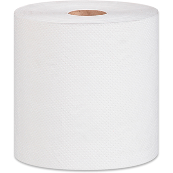 "100% Recycled Hardwound Paper Towel, White, 1-Ply, 7 7/8"" x 800', 6 Rolls/CT"
