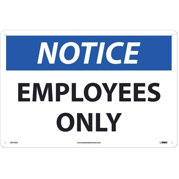 """NMC™ Sign, Notice, Employees Only, 12""""X18"""", .040"""" Thick, Aluminum"""