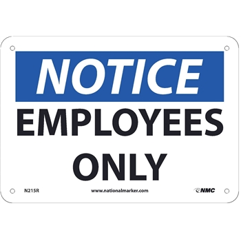 """Sign, Notice, Employees Only, 7""""X10"""", Rigid Plastic"""