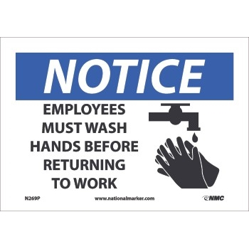 """NMC™ Sign, Notice, Employees Must Wash Hands Before Returning To Work, 7""""X10"""", .0045"""" Thick, Pressure-Sensitive Vinyl"""