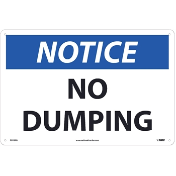 "Sign, Notice, No Dumping, 12""X18"", .040"" Thick, Aluminum"