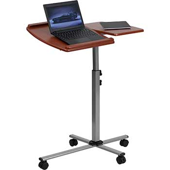 Angle and Height Adjustable Mobile Laptop Computer Table with Cherry Top