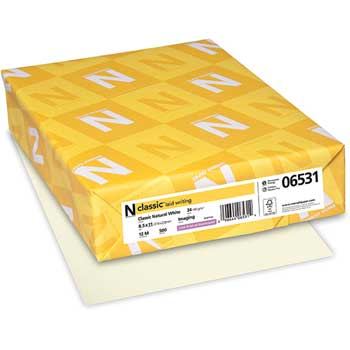 Neenah Paper Classic Laid Stationery Writing Paper, 24-lb., 8-1/2 x 11, Natural White, 500/Rm