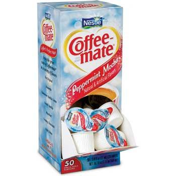 Peppermint Mocha Liquid Coffee Creamer, 0.38 oz. Single-Serve Cups, 50/BX