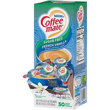 Coffee mate® French Vanilla Sugar Free Liquid Coffee Creamer, 0.38 oz. Single-Serve Cups, 50/BX