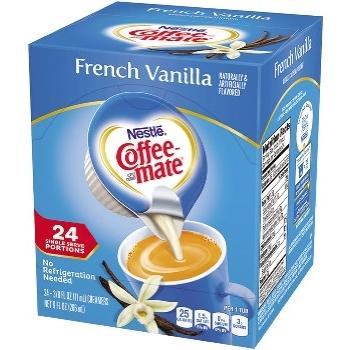 Coffee mate® Single-Serve Non-Dairy Liquid Coffee Creamer, French Vanilla, 0.375 oz., 24/BX