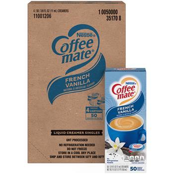 Coffee mate® French Vanilla Liquid Coffee Creamer, 0.38 oz. Single-Serve Cups, 200/CS