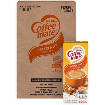 Coffee mate® Hazelnut Liquid Coffee Creamer, 0.38 oz. Single-Serve Cups, 200/CS