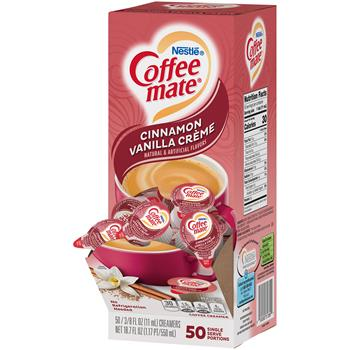 Coffee mate® Cinnamon Vanilla Liquid Coffee Creamer, 0.38 oz. Single-Serve Cups, 50/BX