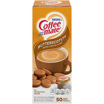 Butterscotch Liquid Coffee Creamer, 0.38 oz. Single-Serve Cups, 50/BX