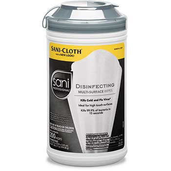 Sani Professional® Disinfecting Multi-Surface Wipes, 7 1/2 x 5 3/8, 200/Canister