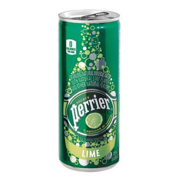 Perrier® Sparkling Mineral Water, Lime, 8.45 oz. Cans, 10/PK