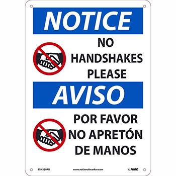"Rigid Plastic Sign, ""Notice - No Handshakes Please"", Bilingual, 10"" x 14"""
