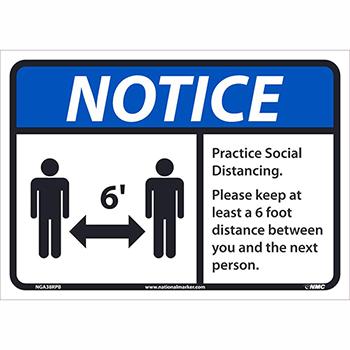 "NMC™ Adhesive Vinyl Sign, ""Notice - Practice Social Distancing"", 14"" x 10"""