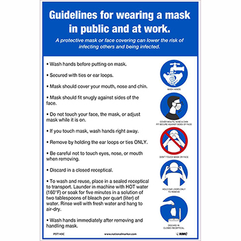 """NMC™ Vinyl Poster, """"Guidelines For Wearing A Mask"""", 12"""" x 18"""""""