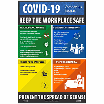"NMC™ Vinyl Poster, ""COVID-19 - Keep The Workplace Safe"", 12"" x 18"""