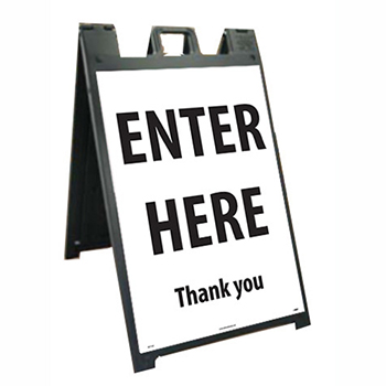 """Plastic Stand and Sign Kit, """"Enter Here - Thank You"""", 25"""" x 45"""""""