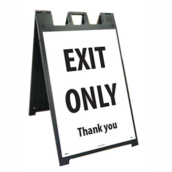 "NMC™ Plastic Stand and Sign Kit, ""Exit Only - Thank You"", 25"" x 45"""