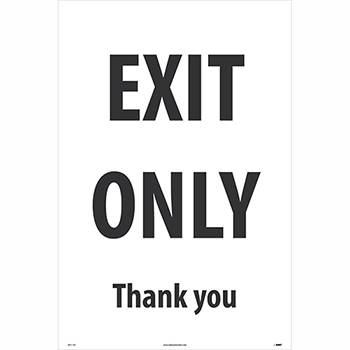 "NMC™ Corrugated A-Frame Plastic Sign, ""Exit Only - Thank You"", 24"" x 36"""