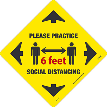 "Removable Vinyl Sign/Label, ""Please Practice Social Distancing"", 12"" x 12"""