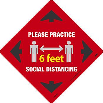 NMC™ Please Practice Social Distancing 6 FT, Red, 12 x 12, Pressure Sensitive Removable Vinyl .0045