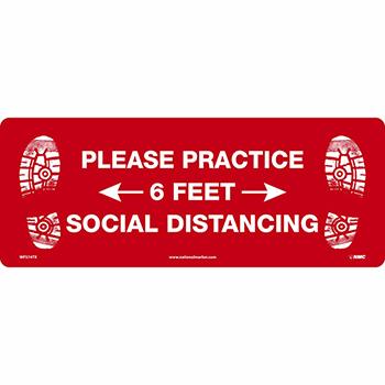 """Floor Sign, """"Please Practice Social Distancing - 6 Feet"""", TexWalk®, 19 5/8"""" x 7 5/8"""""""