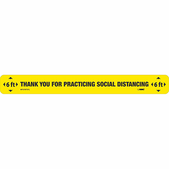 """NMC™ Floor Sign, """"Thank You For Practicing Social Distancing"""", TexWalk®, Black/Yellow, 20"""" x 2 1/4"""""""