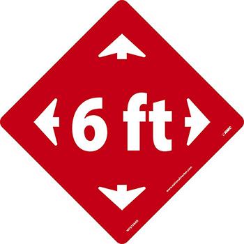 """Removable Vinyl Sign/Label, """"6 Ft"""", Non-Slip Lam Floor, White/Red, 8"""" x 8"""""""
