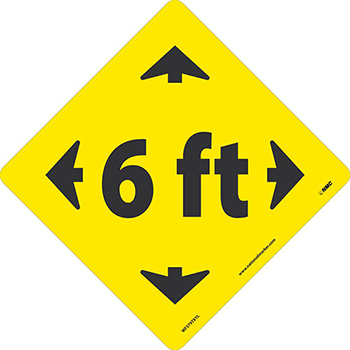 "NMC™ Floor Sign, ""6 Ft"" w/Arrows, TexWalk®, Black/Yellow, 8"" x 8"""