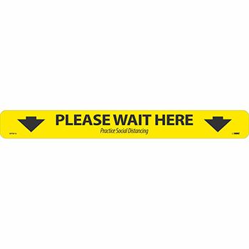 "NMC™ Removable Vinyl Sign/Label, ""Please Wait Here"" - Arrows, Non-Slip Lam, Floor, 20"" x 2.25"""