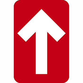"""NMC™ Directional Arrow, Temporary-Step Adhesive Back, 4"""" x 6"""", Red, 10/PK"""