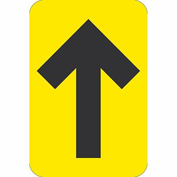 "NMC™ Directional Arrow, Temporary-Step Adhesive Back, 4"" x 6"", Black/Yellow, 10/PK"