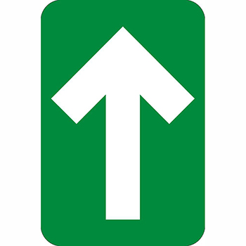 "Directional Arrow, Walk-On Adhesive Back, 4"" x 6"", Green, 10/PK"