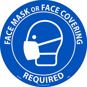 NMC™ Face Mask Or Face Covering Required, Floor Sign, 8 x 8, Temp-Step Material, Pack Of 10