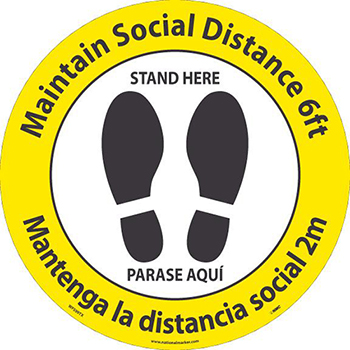 Maintain 6' of Distance Thank You, Floor Sign, 8 x 8, TexWalk Material, English/Spanish
