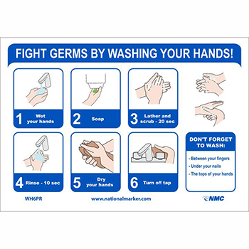 """NMC™ Removable Vinyl Sign/Label, """"Fight Germs By Washing Your Hands"""", 10"""" x 7"""""""