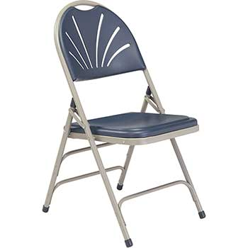 National Public Seating 1100 Series Deluxe Fan Back With Triple Brace Double Hinge Folding Chair, Dark Blue, 4/PK