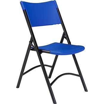 National Public Seating 600 Series Heavy Duty Plastic Folding Chair, Blue, 4/PK