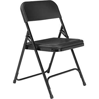 800 Series Premium Lightweight Plastic Folding Chair, Black, 4/PK