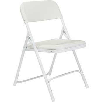 National Public Seating 800 Series Premium Lightweight Plastic Folding Chair, Bright White, 4/PK