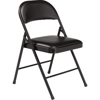Steel Folding Chair, Vinyl Padded Seat, Black