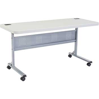 """National Public Seating Flip-N-Store Training Table, 24"""" x 60"""", Speckled Grey"""
