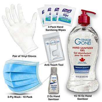 W.B. Mason Co. Employee Back To Work Kit, Hand Sanitizer/Hand Wipe/Mask/Glove/Anti-Touch Tool