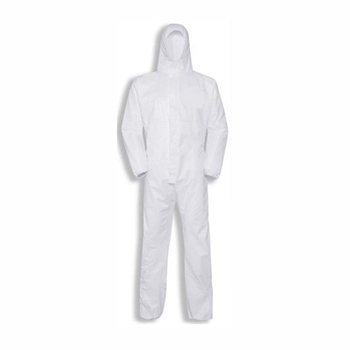 W.B. Mason Co. Disposable Hooded Coveralls, Elastic Wrists & Ankles, Large, White