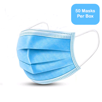 Disposable Face Mask, 3-Ply, 50/BX