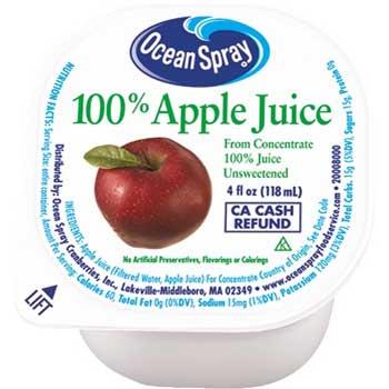 Juice Cups, 100% Apple Juice, 4 oz., 48/CT