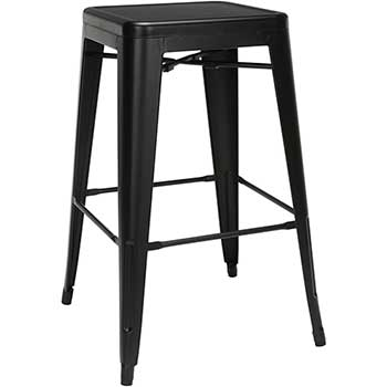"""OFM™ 161 Collection Industrial Modern Indoor/Outdoor Bar Stools with Oversized Seats, Backless, 30"""" H, Galvanized Steel, Black, 4/CT"""